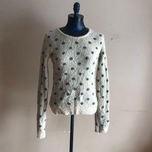 Anthropologie Moth Fuzzy Knit Polka Dot Sweater